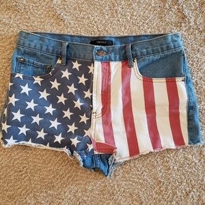 Forever 21 American Flag Jean Shorts